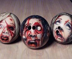 Decapitated Head Bowling Balls Heads will roll when you arrive at the bowling alley sporting these disturbing decapitated head bowling balls. These highly detailed bowling balls were created by spray paint gun artist Oliver Paass and are perfect gift idea for the avid bowler with a morbid side.