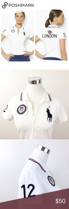 """Ralph Lauren USA Olympic Team London Polo Shirt Ralph Lauren Polo USA Olympic Team 2012 London Summer Games White Navy Red Small Condition: New without tags Front chest embroidery of the United States Olympic Team Large Polo logo in Navy on front Embroidered """"12"""" on right sleeve for 2012 Summer Olympics in London Embroidered """"London"""" with its flag across back *A rare and collectibleitem that is hard to find in this condition* Measurements taken flat: Bust (underarm to underarm): 19""""…"""