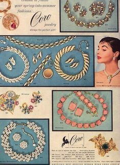 1956 Coro pastels and gold set jewelry