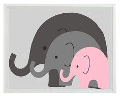 Elefant Kinderzimmer Wand Kunstdruck Mom Baby von RizzleandRugee