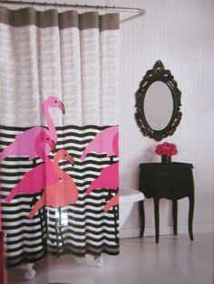 NEW in Package BETSEY JOHNSON Designer Shower Curtain FLAMINGO TRIO *So SOFT* #BetseyJohnson