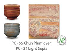 AMACO Potter's Choice layered glazes PC-34 Light Sepia and PC-55 Chun Plum.