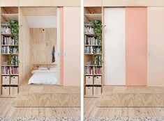 Clare Cousins, Plywood House, Flinders Lane, Melbourne | Remodelista  This is a built in bedroom with sliding doors and storage all around, including a ladder that leads to storage above. Another small room is directly behind this one.