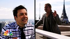 Jimmy Fallon & Brad Pitt Have a Yodel Conversation Atop Two Rooftops in New York City