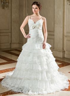 A-Line/Princess Sweetheart Chapel Train Organza Satin Wedding Dress With Lace Bow(s) Cascading Ruffles (002000216) http://www.dressdepot.com/A-Line-Princess-Sweetheart-Chapel-Train-Organza-Satin-Wedding-Dress-With-Lace-Bow-S-Cascading-Ruffles-002000216-g216 Wedding Dress Wedding Dresses #WeddingDress #WeddingDresses