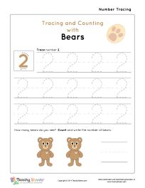 Tracing and Counting with Bears. Tracing and counting number 2 worksheet. For more free worksheets visit us at TeachySheets.com