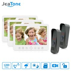 "JeaTone 7"" TFT LCD Wired Video Door Phone Intercom Unlocking Doorbell Home Security Camera Night Vision  Doorbell Free Shipping"