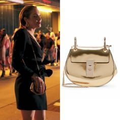 "Fallon Carrington wears this Chloe ""nano Drew"" mirror leather saddle bag on Dynasty 1x04"