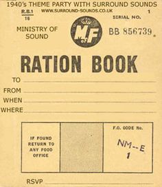 1940's Ration Book Invitation and list of 40s films, stars and events