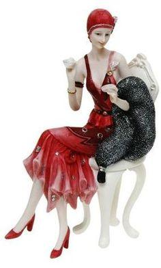 Art Deco Red Dress Black Scarf Lady Figurine Sculpture Statue Retro Vintage.