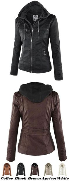 Women's Winter PU Leather Jacket Fashion Fall Winter Faux Leather Detachable Fake Two-piece Hood Zipper Jackets Coat for big sale! #coat #jacket #fashion #Leather #women