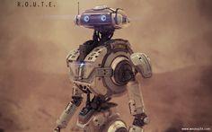 R.O.U.T.E Exploration Robot 2, wesley griffith on ArtStation at https://www.artstation.com/artwork/r-o-u-t-e-exploration-robot-2