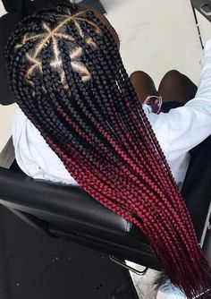 Red Ombre Triangle Braids # rasta Braids red 23 Trendy Ways to Wear Individual Braids This Season Ombre Box Braids, Colored Box Braids, Triangle Box Braids, Short Box Braids, Blonde Box Braids, Black Braids, Brown Box Braids, Long Braids, Box Braids Hairstyles