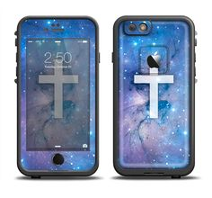 The Vector White Cross v2 over Purple Nebula Apple iPhone 6/6s Plus LifeProof Fre Case Skin Set from DesignSkinz