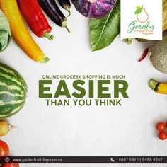 You needn't panic much - Online Grocery Shopping isn't as hard as you think. With Gordon Village Fruit Market you get access to fresh fruits and vegetables. Visit our Website: www.gordonfruitshop.com.au  #HealthyLiving #EatHealthy #FreshFruits #FreshVegetables #FreshFromFarm #OrganicFruits #OrganicVegetables Fresh Fruits And Vegetables, Organic Vegetables, Fruit Shop, Healthy Living, Website, Shopping, Healthy Life, Healthy Lifestyle