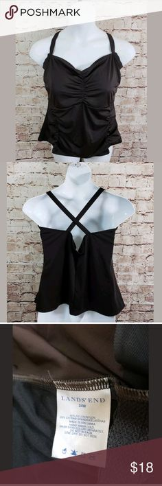 """Lands End Plus Size 24W Tankini Bathing Suit Top Lands End Plus Size 24W Tankini Bathing Suit Top Built in Bra Brown  Measurements: Bust (Pit to Pit) = 19.5"""" Length = 23""""  Condition: Great Condition from clean pet/smoke free home. Lands' End Swim"""