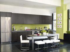 CUISINE peinture cuisine tendance, couleur vert jaune