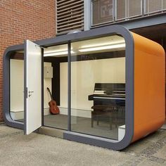 Office Pod | Working Environments Furniture - Office Pod | Working Environments Furniture - These pods are available in a variety of sizes this one being the larger 7.1 pod specified for external use and with bespoke orange finish. Great soundproofing and fantastic aesthetics Office Pods, Outdoor Office, Types Of Rooms, Commercial Furniture, Sound Proofing, The Office, Bespoke, Flexibility, Larger