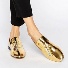 If all-night dancing means feet firmly on the ground (and let's face it, phenomenal looking shoes mean nothing if you can't move in them), you're in luck - the latest crop of flat shoes are just as covetable as their heeled counterparts - think velvet touches, wearable sequins and lace-up details. Loafers £50 River Island