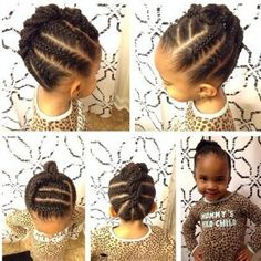 Natural Hair, Curly Hair, Relaxed Hair, Hairstyles cornrow hairstyle for little black girls Lil Girl Hairstyles, Natural Hairstyles For Kids, Natural Hair Styles For Black Women, Kids Braided Hairstyles, Braided Updo, Kids Hairstyle, Simple Hairstyles, Natural Styles, Modern Hairstyles