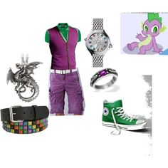 """""""MLP FiM Spike"""" by kittycaesar on Polyvore  shirt - $61  vest -$275  shorts - $37  belt - $16  shoes - $22 random accessories - Total outfit $500"""