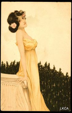 startwithsunset:   Girl with flowers at her feet - Raphael Kirchner (1876 - 1917)
