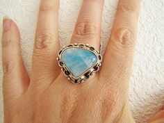 Stunning Vintage Triangle Moonstone Sterling by SwanTreasures, $65.00