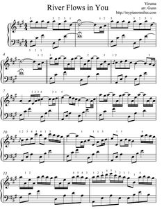sheet music for popular music-- River Flows in you is one of my favorite songs to play on piano