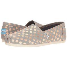 TOMS Seasonal Classics (Drizzle Grey/Rose Gold Foil Polka Dot) Women's... ($55) ❤ liked on Polyvore featuring shoes, stitch shoes, elastic shoes, toms footwear, grey slip on shoes and glitter shoes