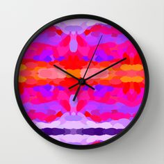 Vibrant purple, hot pink and bright orange wall clock by Khoncepts.com