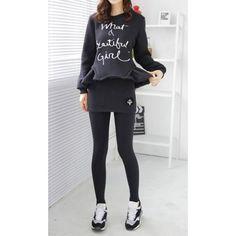 Stylish Round Neck Long Sleeve Letter Print Sweatshirt + Bodycon Culotte Twinset For Women black gray (Stylish Round Neck Long Sleeve Letter Print Sweatshirt + Bo) by http://www.irockbags.com/stylish-round-neck-long-sleeve-letter-print-sweatshirt-bodycon-culotte-twinset-for-women-black-gray