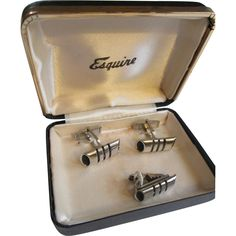 Mid Century Modern Cuff Links Mens Vintage 1950s Jewelry Set Esquire Presentation Box