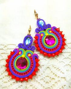 Soutache EarringsBig folk earrings soutache jewelry in Soutache Earrings, Big Earrings, Crochet Earrings, Handmade Necklaces, Handmade Jewelry, Rope Jewelry, Initial Jewelry, Handmade Christmas Gifts, Polymer Clay Charms