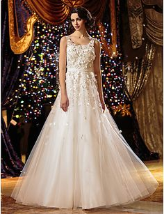 Lanting A-line Petite / Plus Sizes Wedding Dress - Ivory Floor-length Scoop Tulle 2016 - $99.99