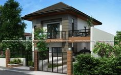 Two Storey House Plan with Balcony - Pinoy House Plans Zen House Design, Two Story House Design, 2 Storey House Design, Home Design, Two Storey House Plans, Double Storey House, Modern House Plans, Small House Plans, Modern Zen House