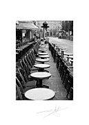 Paris cafe, empty seats outside Paris Cafe, Paris Street, Street Photography, Landscape Photography, Paris Black And White, Romantic Paris, Black And White Landscape, Irish Art, Paris Photos