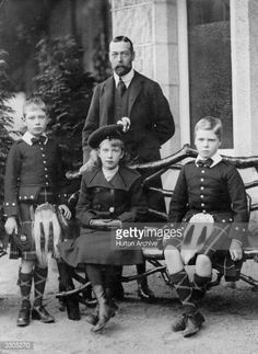 Kinge George V, (1865 - 1936), as Prince of Wales, with three of his six children. From left, Prince Albert, (1895 - 1952), later King George VI, Mary, Princess Royal, (1897 - 1965), and the Duke of Windsor, then Prince Edward (1894 - 1972).