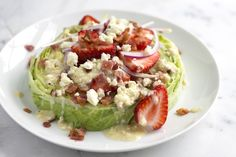 Stacked Iceberg and Strawberry Salad Recipe | It's the crunch that makes this strawberry salad recipe … The iceberg is light, but hearty — plus it stands up to the extra spoonfuls of blue cheese vinaigrette we douse it with. (Yep, douse — it's best this way). | From: inspiredtaste.com