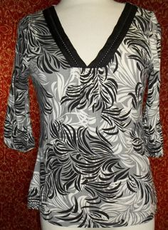 MERONA black abstract 3/4 sleeve stretch rayon tunic blouse S (T32-0DD7G) #MERONA #Blouse #Casual