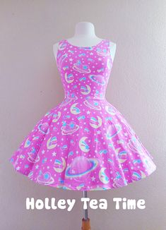 ☆ This item is a made to order skater dress. The dress will be manufactured printed, cut and sewn in the factory and then will be delivered to you. Time to manufacture the dress is 4-5 weeks before shipping out. ☆ A cute dress that can be dresses up or worn as casual wear. Perfect for fairy ke...