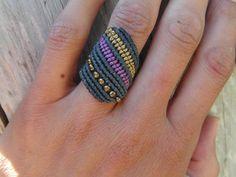 Macrame Bracelet Patterns, Macrame Rings, Macrame Necklace, Macrame Jewelry, Macrame Bracelets, Crochet Rings, Jewelry Knots, Micro Macramé, Statement Jewelry