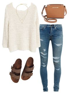 """""""Untitled #255"""" by kristian321 ❤ liked on Polyvore featuring Yves Saint Laurent, MANGO, Kate Spade, Birkenstock and MICHAEL Michael Kors"""