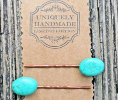 TURQUOISE BOBBY PIN hair clip stone blue barrette by Blitzrider, $9.89
