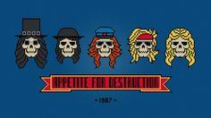 Guns N' Roses - Skulls - Digital PDF Cross Stitch Pattern