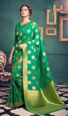 046c2ff469e29f Stupendous Green Color Kanchivaram Silk Weaving Designer Party Wear Saree  Formal Saree, Casual Saree,