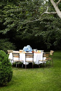 Summertime outdoor table setting.