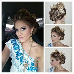 #Arreglodecabeza de reina Calle Arriba de Las Tablas 2015, Andrea Batista, con #vestidoestilizado tipico