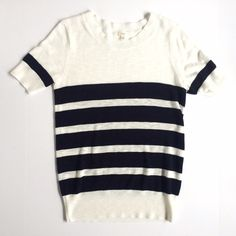 """J. Crew Factory stripe elbow sleeve sweater Bust 17""""•length 26""""•laid back layer•textured skin cotton•hits at the hip•rib trim at hem & cuffs•online exclusive J. Crew Tops"""