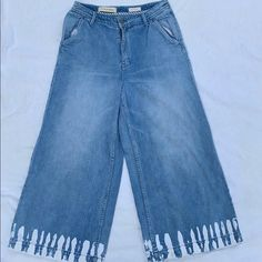 Anthropologie Jeans | Pilcro And The Letterpress Ultra Highrise Culotte | Poshmark Thing 1, Letterpress, Flare Jeans, Mom Jeans, Anthropologie, Overalls, Polka Dots, Blue And White, How To Wear