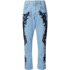 Moschino lace detail boyfriend jeans (34.514.040 IDR) ❤ liked on Polyvore featuring jeans, blue, boyfriend jeans, light blue boyfriend jeans, blue jeans, boyfriend fit jeans and blue boyfriend jeans